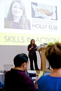 Holly Else sharing the best ways to work with the media (Image by Lindsay Perth)